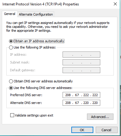 Now use the DNS Server Addresses radio button below and click Enter addresses below to get faster internet speed. To Preferred DNS server: 208.67.222.222 An Alternate DNS server: 208.67.220.220 If you want, you can exchange these addresses. Save and click OK to continue.